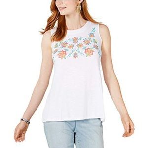 Style&Co Top Tank White Embroidered Keyhole Scoop